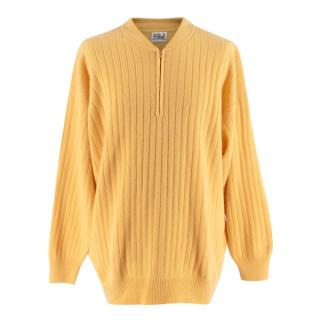 N. Peal Light Yellow Cashmere Zipped Sweater
