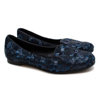 Christian Dior Navy Sequin Cannage Loafers