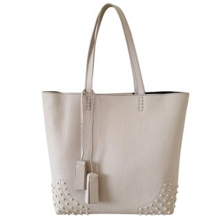 Tod's Stone Leather Wave Tote Bag