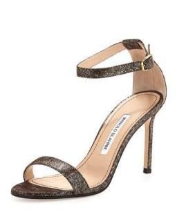 Manolo Blahnik Chaos Metallic Suede Sandals