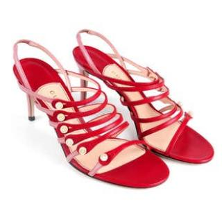 Gucci Red & Pink Patent Leather Strappy Sandals