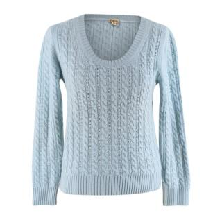 Malo Mint Green Cashmere Cable Knit Sweater