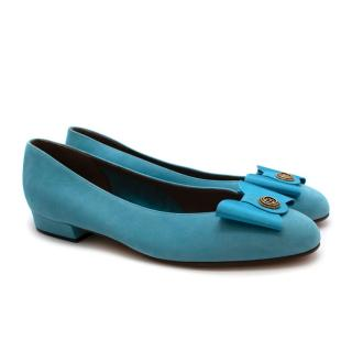 Bally Blue Suede Bow Court Shoes