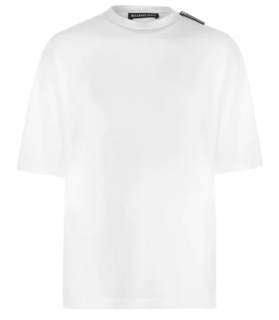 Balenciaga White Mens Tab T-Shirt