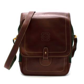 Loewe Brown & Green Suede & Leather Vintage Shoulder Bag