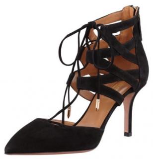 Aquazzura Black Suede Belgravia Lace-Up Sandals