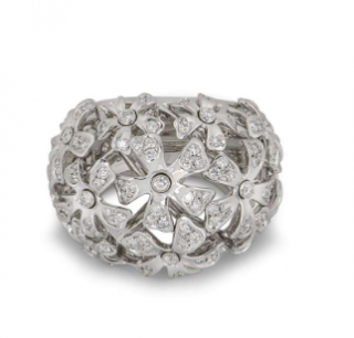 De Beers White Gold Diamond Flower Bombe Ring