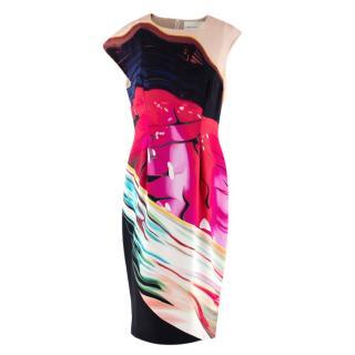 Mary Katrantzou Abstract Print Silk Asymmetrical Shoulder Dress