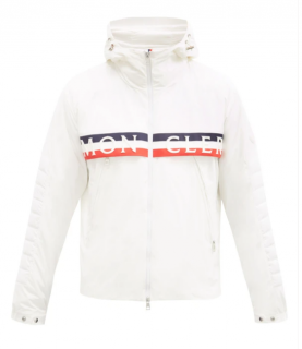 Moncler Olargues tricolour logo-trim down jacket