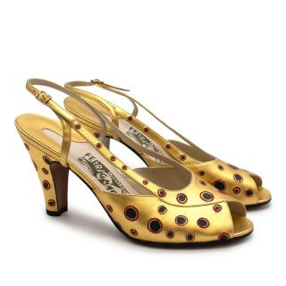 Salvatore Ferragamo Gold Leather Dotted Limited Edition 1930's Shoes