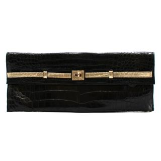 Zagliani Black Crocodile Leather Clutch Bag