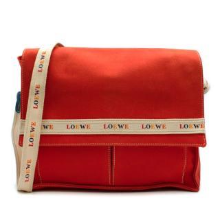 Loewe Red Canvas Vintage Messenger Bag