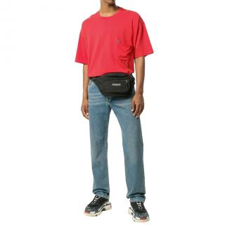 Balenciaga Mens Red Cotton Tab T-Shirt