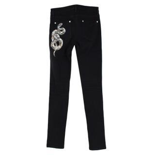 Roberto Cavalli Black Cotton Denim Snake Embellished Skinny Jeans