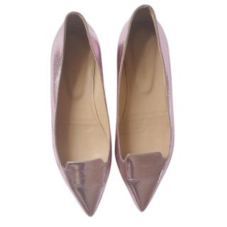 Sergio Rossi Pink Metallic Cracked-leather Pointed Ballerinas