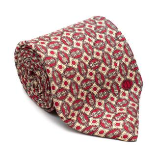 Dunhill Red Naval Print Silk Tie