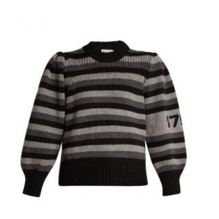 Sonia Rykiel Monochrome Puff Sleeve Knit Striped Jumper