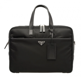 Prada Black Nylon Leather Trimmed Briefcase