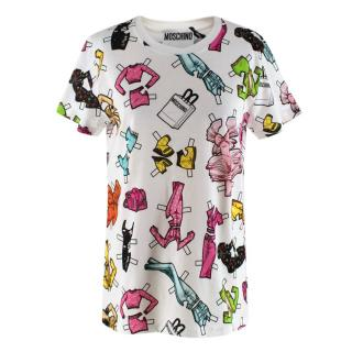 Moschino Couture White Paper Dolls Print Cotton T-shirt