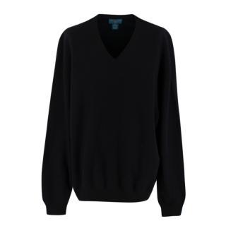 Joseph & Lyman Black Cashmere V Neck Knit Sweater