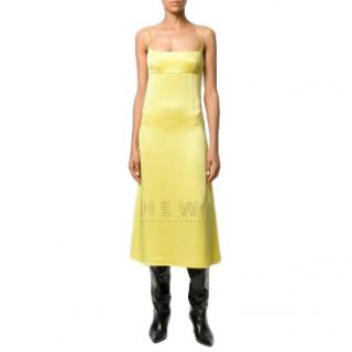 C�dric Charlier Yellow Midi Slip Dress