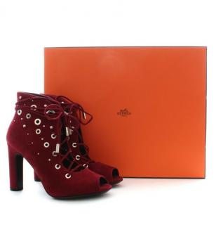 Hermes Suede Lace--Up Booties