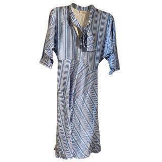 Nina Ricci Blue Striped Pussy Bow Dress