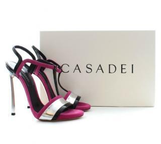 Casadei tri-colour metallic blade sandals