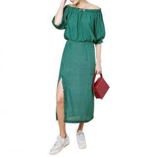 RIXO Zara Gingham Spearmint Pencil Skirt With Slit