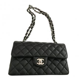 Chanel Small Black Lambskin Double Flap Bag