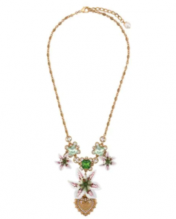 Dolce & Gabbana Green Crystal Lily Pendant Necklace