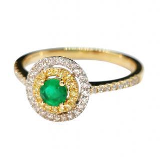 Bespoke 18ct Yellow Gold Zambian Emerald & Diamond Halo Ring