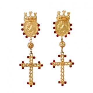 Dolce & Gabbana Embellished Cross Earrings