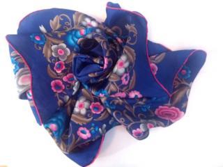 Loewe Blue Floral Print Silk Scarf