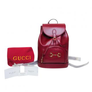 Gucci red leather Horsebit1955 backpack