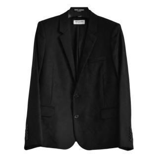 Saint Laurent black wool tonal camouflage print blazer