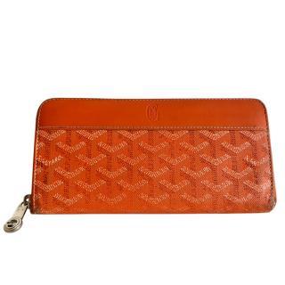 Goyard Orange Goyardine Zip Around Matignon Wallet