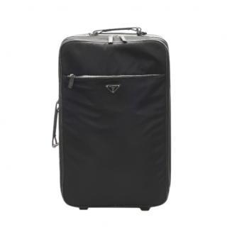 Prada Black Nylon Leather Trimmed Suitcase