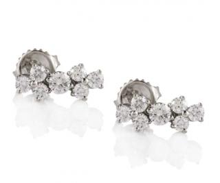 Tiffany & Co Platinum Set Diamond Aria Large Earrings