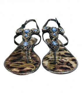 Sam Edelman Crystal Embellished Leather Sandals