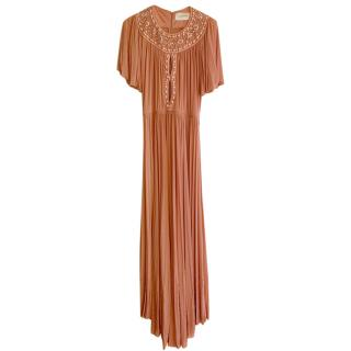 Zuhair Murad Salmon Pink Embellished Pleated Gown