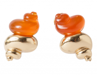 Dior Vintage Gold Tone & Resin Orange Shell Clip-On Earrings