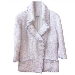 Chanel White Lurex Knit Tweed Jacket