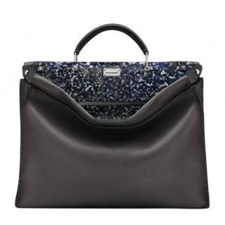 Fendi Black Calfskin Iconic Peekaboo Fit Bag