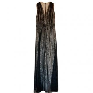 Alice + Olivia Black Sleeveless Lace Gown with White Underlay