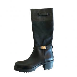 Prada Black Leather/Nylon Tall Boots