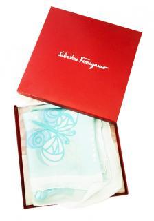 Ferragamo Pale Blue Printed Silk Scarf