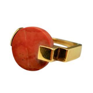 Marion Vidal Orange Marbled Stacking Ring