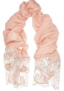 Emilio Pucci Floral Lace Trimmed Blush Wool & Cashmere Scarf