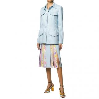 Emilio Pucci Pale Blue Silk & Linen Tailored Jacket